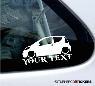 2x Custom YOUR TEXT Lowered car stickers - Peugeot 107 1.4 HDi